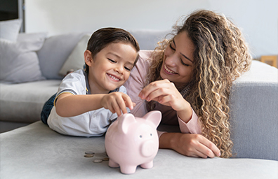 Piggy Bank Mom and Kid
