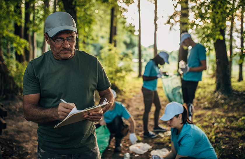 volunteers working in a forest