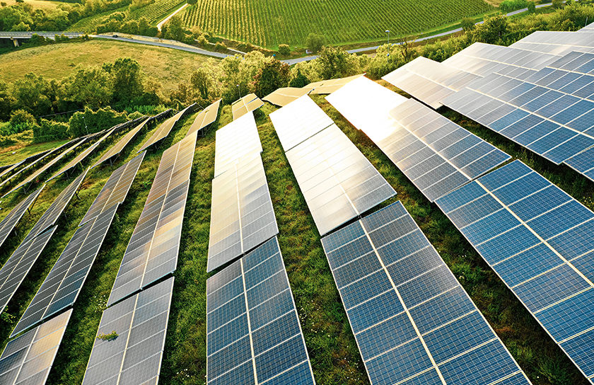 rows of solar panels carpeting a green hillside
