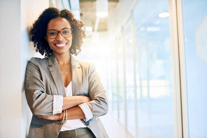 businesswoman smiling in a office