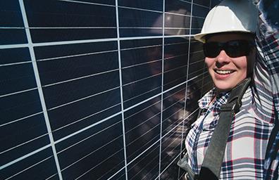 Solar panel woman